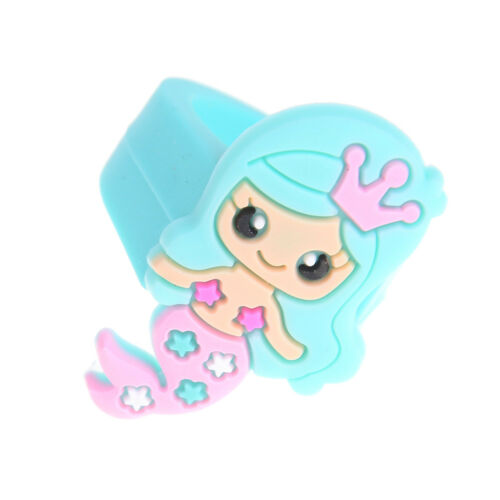 1PC PVC Rubber Cartoon Mermaid Princess Kids Rings Children Silicone Ring Toy RS