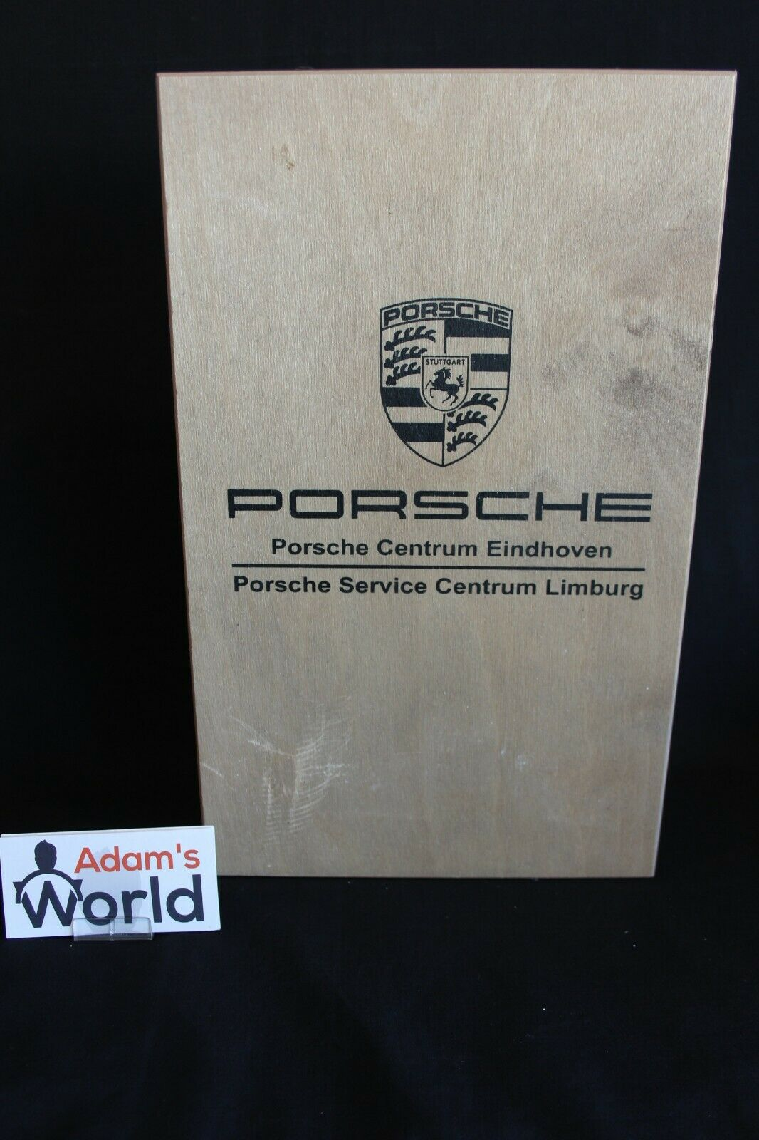 Wooden wine box  Porsche Centrum Eindhoven  with 2 bottles of wine (JS)