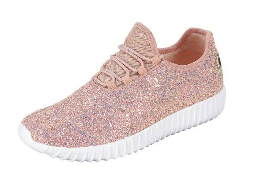 Girls Youth Kids Sequin Glitter Lace Up Fashion Shoes Comfort Athletic Sneakers