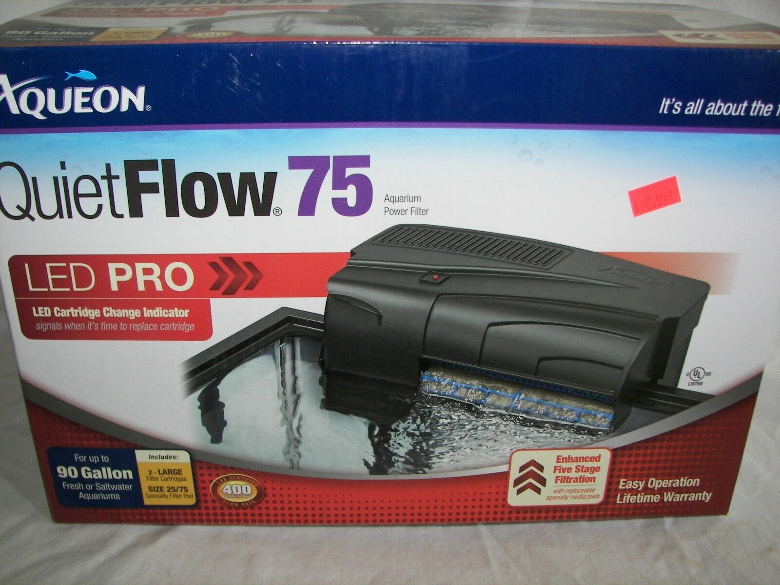 NEW  Aqueon Quiet Flow 75 Power Filter 400GPH includes filter Never Used L@@K