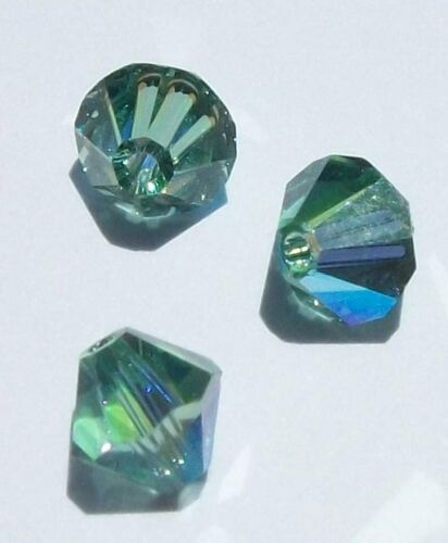Swarovski bicone Austrian crystal beads faceted GREEN AB 3mm 4mm 6mm 8mm