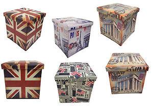 Image is loading Vintage-Union-Jack-Flag-Rome-Paris-USA-Ottoman-  sc 1 st  eBay & Vintage Union Jack Flag Rome Paris USA Ottoman Storage Stool Toy ...