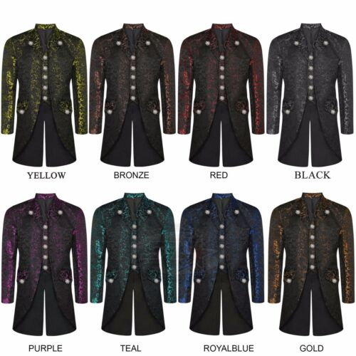 12 Colours Men/'s Steampunk Tailcoat Jacket Gothic Victorian Coat With Waistcoat