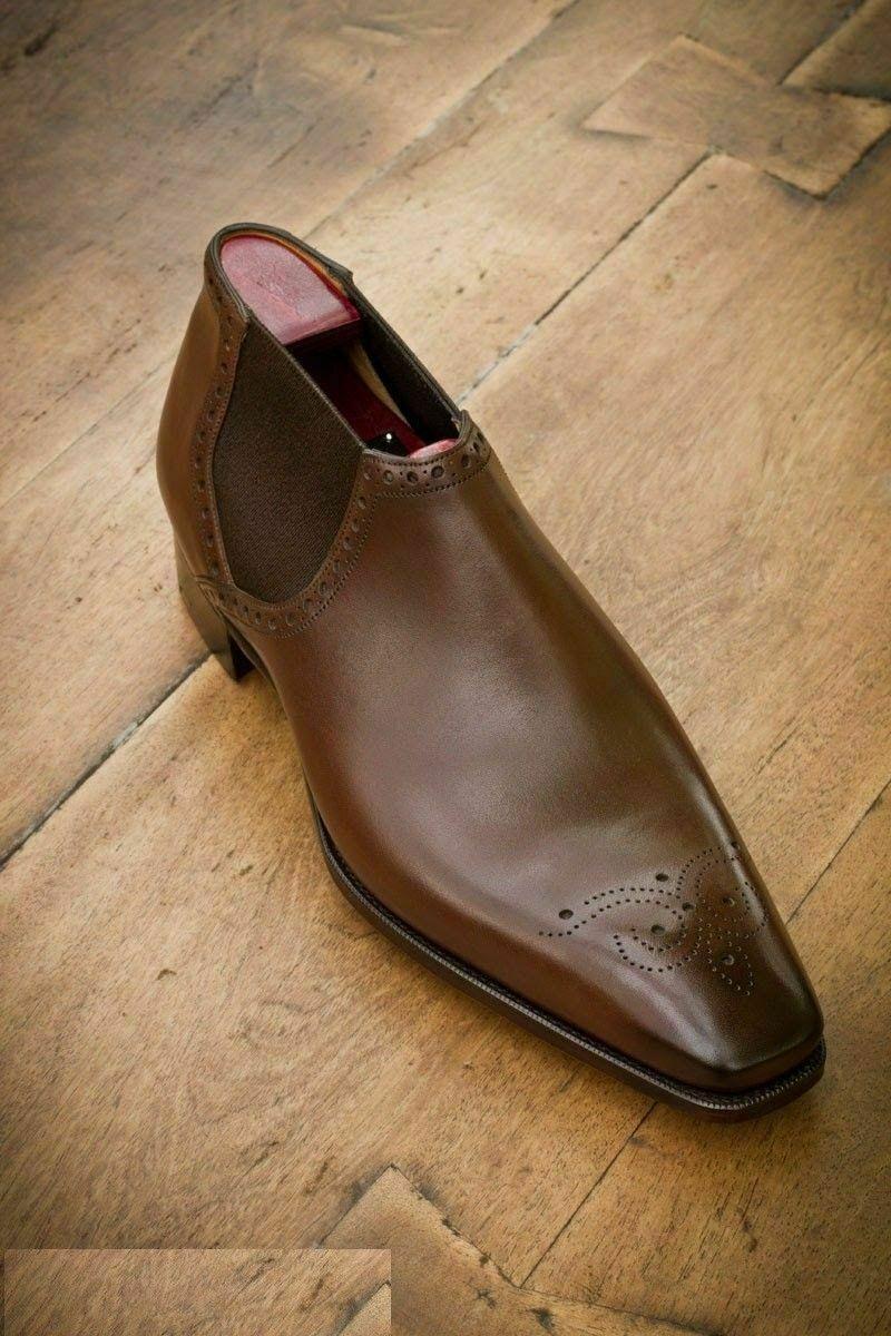 Zapatos Para Hombre Hecho a Mano De Cuero Marrón Genuino Derby Brogue punta del ala Ropa Formal botas
