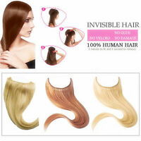 Hair Extension Hidden Halo Invisible Wire Flip In Weft 100% Remy Human Full Head