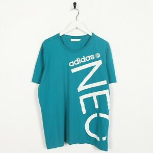 Vintage-ADIDAS-NEO-Big-Graphic-Logo-T-Shirt-Tee-Blue-Large-L