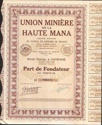 CAYENNE GUYANE Part de Fondateur Union Minière de la HAUTE MANA L