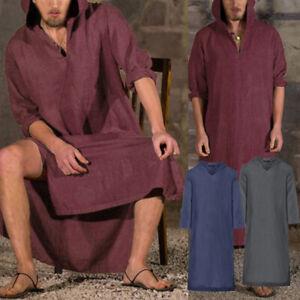 Mens-Islamic-Arab-Kaftan-Long-Sleeve-Linen-Hodies-Causal-Beach-Summer-T-Shirt-UK