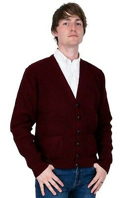 Men/'s Waffle Knit Black Yellow Burgundy Button Front Mod Retro Relco Cardigan