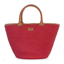 Emilio Pucci Large Red Woven Raffia Tote Handbag