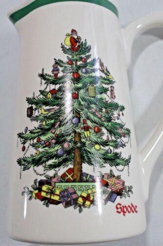 "SPODE  CHRISTMAS TREE  7/"" Teleflora Ceramic Eggnog Water PITCHER  VASE 24 oz"