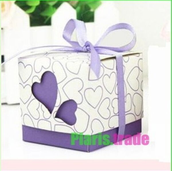 100x LOVE Heart Design Wedding Sweet Favor Party Boxes-Purple With Ribbon
