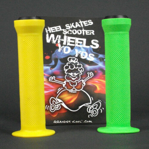 GK Scooter Handlebar Grips Combo Green Yellow bar ends