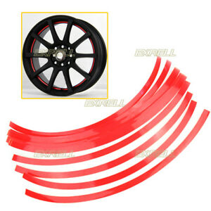 16-Strisce-Adesive-10mm-Rosso-Riflettente-Auto-Ruote-Cerchi-14-26-034-Decorazione