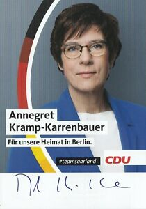 Autogrammkarte Annegret Kramp-Karrenbauer - CDU - Politik - Deutschland
