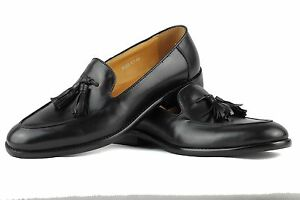 85e55448f9d Image is loading Mens-Real-Leather-Black-Classic-Front-Tassel-Loafers-