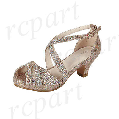 New girl buckle closure dress shoes open toe special occasion formal Gold