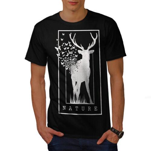 design grafico stampato T-shirt Wellcoda Cervo Natura Farfalla Da Uomo T-shirt