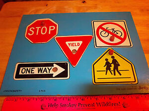 Vintage Childrens Wood Puzzle By Judy Company Safety Signs Fun Ebay