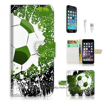 ( For iPhone 6 / 6S ) Wallet Case Cover! Soccer Football P0299