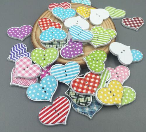 Wooden Sewing Scrapbooking Buttons LOVE Heart  2 Holes Lattice Pattern 20mm