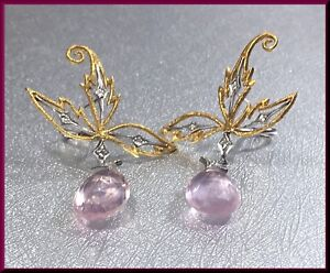 d7a65798b1cd8 Details about Cathy Waterman 22K Yellow Gold, Rose Quartz and Diamond  Earrings