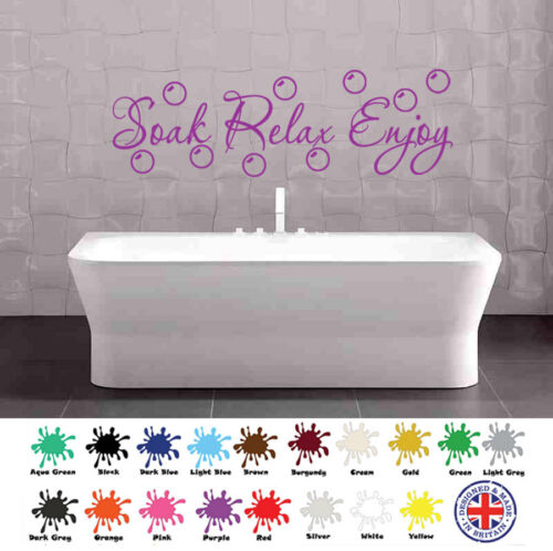 Soak Relax Enjoy Wall Sticker Bubbles Decal Bathroom Home Wall art Decor