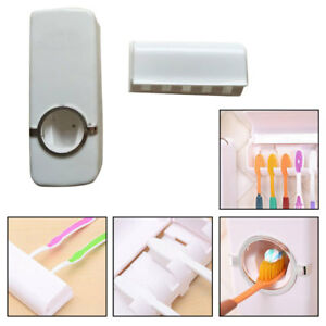 Wall-Mount-Rack-Auto-Automatic-Toothpaste-Dispenser-Toothbrush-Holder-Stand-Hook