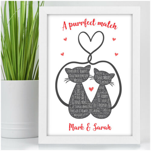 Personalised Cat Couples Gifts Birthday Anniversary Gift for Her Girlfriend Wife