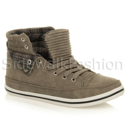 Womens ladies flat checked cuff lace up casual high top pumps trainers size