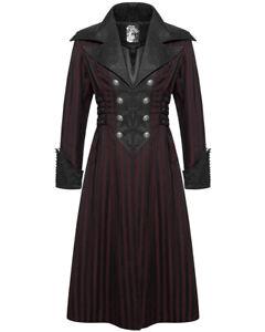 Punk-Rave-Mens-Steampunk-Coat-Jacket-Black-Red-Stripe-Gothic-Victorian-Gentleman