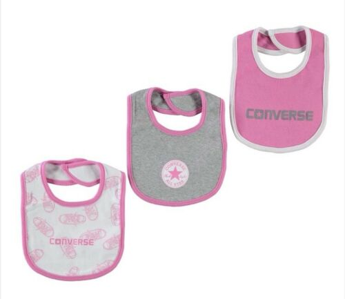 Girls Converse All Star Pack Of 3 Dribble Bibs Infant Baby One Size New !