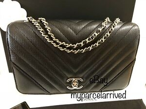 007a293668ef NWT CHANEL Statement Flap Bag in Chevron Black Calf Light Gold-Tone ...