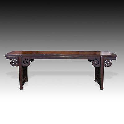 ANTIQUE CHINESE CARVED YUMU & BAIMU WOOD ALTAR TABLE - CLOUD RUYI MOTIF 18TH C