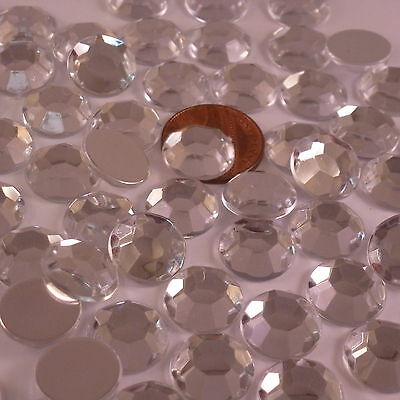 Flatback Glue On Grade A Faceted Acrylic Round Rhinestones Crystal Diamante Gems