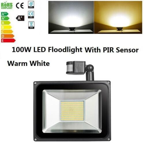 100W LED Flood Light PIR Motion Sensor Outdoor IP65 Work Spotlight Security Lamp
