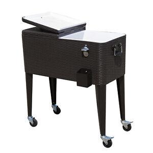 Image Is Loading Outdoor Patio Wicker Rattan 80qt Rolling Cooler Cart