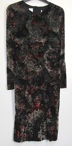 Marks-amp-Spencer-Floral-Print-Long-Sleeve-Velvet-Bodycon-Occasion-Dress