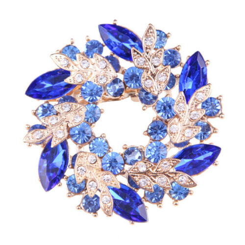 Fashion Shining Rhinestone Gold Plated Redbud Flower Pin Brooches Jewelry FOUK