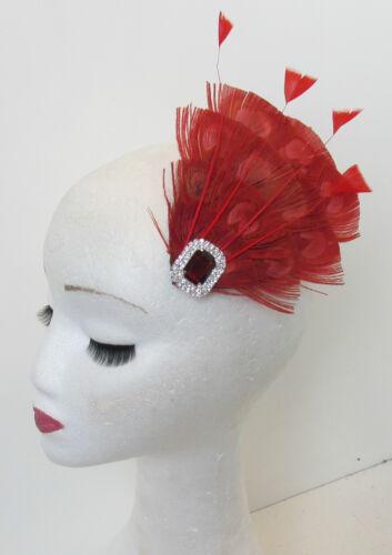 Rot Pfauenfeder Vintage Kopfschmuck 1920s 1940s Races Haarspange Art Deko P62