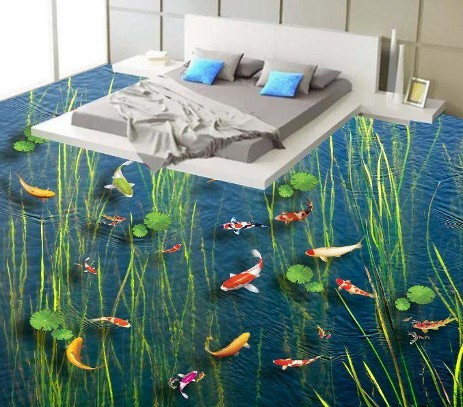 3D acuático Lotus pescado Piso impresión de parojo de papel pintado mural 27 Calcomanía 5D AJ Wallpaper