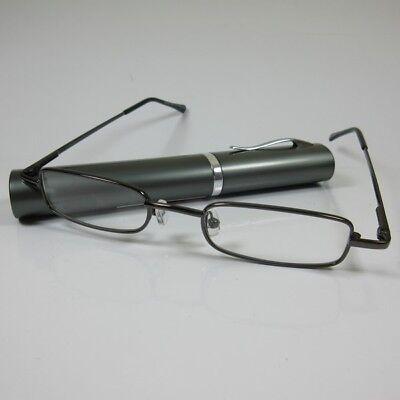 100% Wahr Schmale Lesebrille +1,0 Anthrazit Metall Fertigbrille Etui Sie & Ihn Lesehilfe Novel (In) Design;