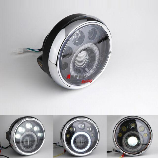 """Cafe Racer Bobber Custom LED Phare Headlight Moto 7"""" Honda CB Classic Side Mount"""
