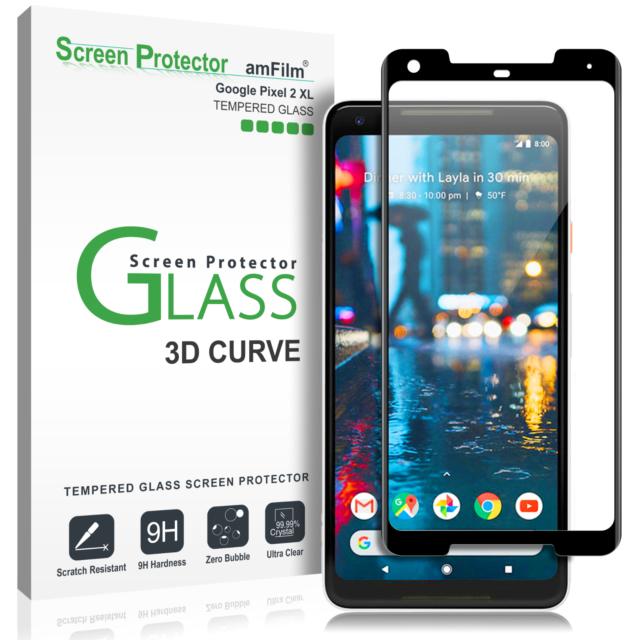 Google Pixel 2 XL amFilm Full Cover Tempered Glass Screen Protector (Black)