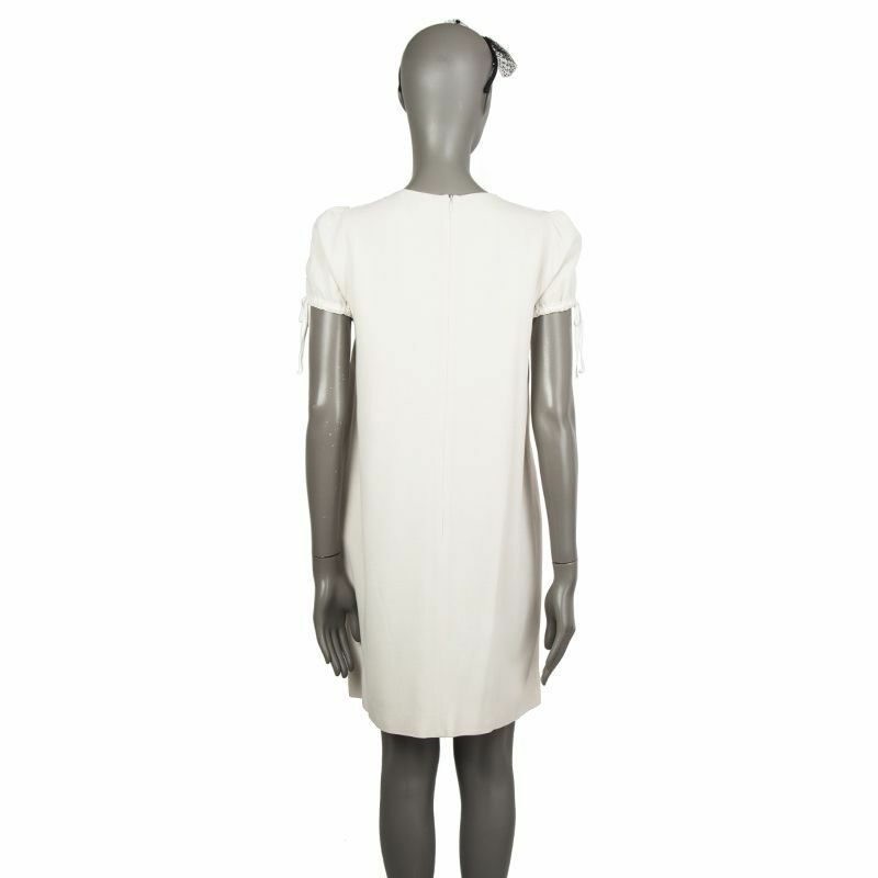 56474 auth RED by VALENTINO off white viscose viscose viscose EMBROIDERED RUFFLE Dress 44 L 41682a