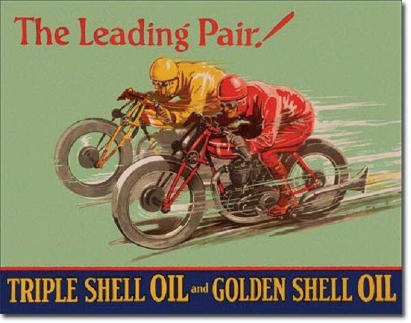 Shell Leading Pair TIN SIGN vtg racing motorcycle metal garage wall decor 2017