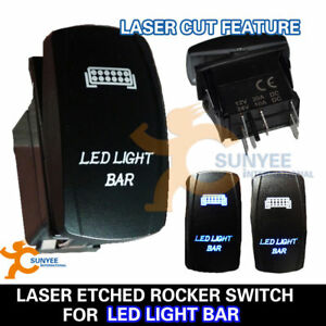 LED Light Bar Rocker Switch LASER Etched Light Bar 4WD 12V 24V