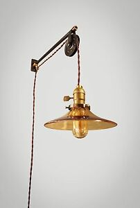 vintage industrial pulley sconce amber glass lamp shade. Black Bedroom Furniture Sets. Home Design Ideas