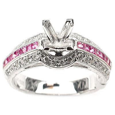 .69ct Pink Sapphire &Diamond Semi Mount Engagement Ring
