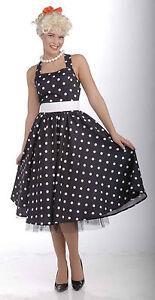 aebfb241d98 50 s Cutie Costume Black   White Polka Dot Dress Sock Hop Adult Size ...